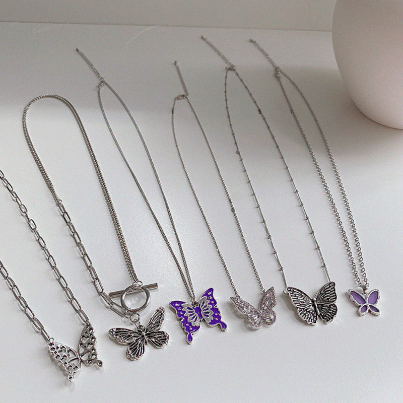 Goth Colorful Butterfly Pendant Clavicle Neck Chains Necklaces For Women Egirl Friends Cosplay Aesthetic Jewelry