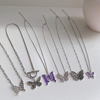 Kpop Harajuku colgante gótico de mariposa colorida, collar de cadena de clavícula para mujeres, chicas, amigos, accesorios estéticos, joyería Bohemia