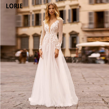 LORIE Long Sleeves Wedding Dresses Bohemia V-Neck A-Line Lace Appliques Tulle Illusion Bridal Wedding Gowns Beach Plus Size illusion boho deep v neck a line wedding dresses 2019 bridal gowns ivory appliques lace up long tulle beach vestidos de noiva