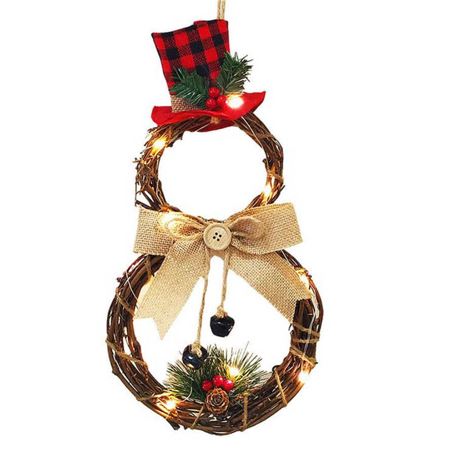 New LED Christmas Hanging Wreath 1PC Creative Home Xmas Decoration Wreath Pendant Wall Hanging Christmas Wreaths 0911#30