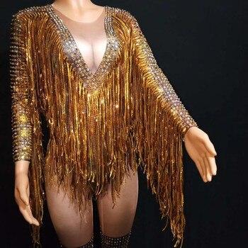 Золотистыми кисточками Стразы комбинезоны эластичные колготки женские вечерние бахромой комбинезон со стразами для ночного клуба боди дж