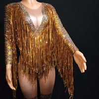 Gold Tassel Rhinestone Jumpsuits Elastic Tights Women Party Fringes Rompers Nightclub Crystal Bodysuit Jazz Dance Stage Costumes
