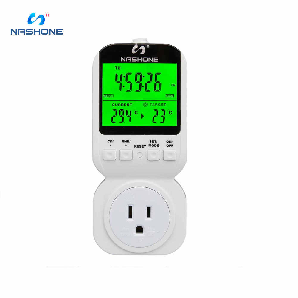 Nashone เทอร์โมจับเวลาเซ็นเซอร์อุณหภูมิ 7 วัน Programmable Thermostat Plug-in Digital Timer Switch 3-PRONG Outlet