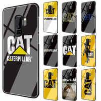 Funda de cristal templado con logotipo de Caterpillar, funda negra de TPU para Galaxy S7 Edge S8 S9 S10 Plus Note 8 9 10 A10 20 30 40 50 60 70