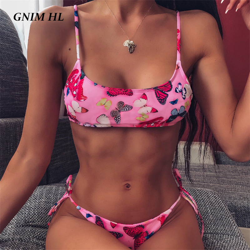 GNIM Sexy <font><b>3D</b></font> Print <font><b>Bikini</b></font> Swimwear Women 2020 Bandage Bandeau Swimsuit Women Push Up New Swim Bathing Suit Backless Biquini Set image