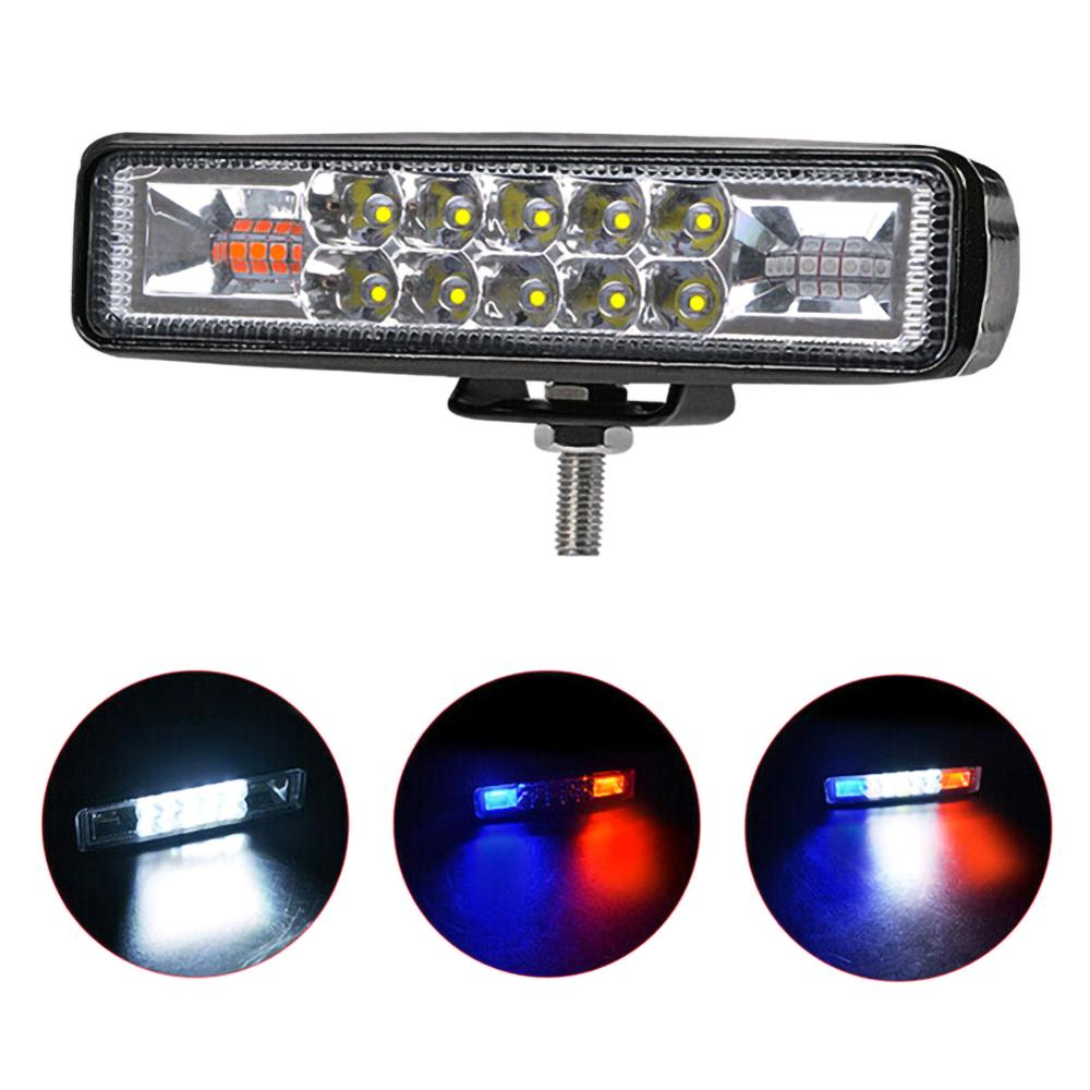 Blue +Red 6Led Light Bar 12V 24V 48W Offroad Spot Work Led Lights Strobe Flash Working Led Light Bar For Jeep Offroad Truck ATV