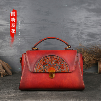 Lady's bag handbag leather embossed dumpling bag retro large capacity handbag lady's head layer cow leather handbag фото
