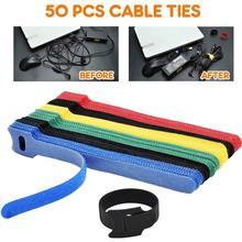 50 шт. многоразовые крепежные кабельные стяжки регулируемые Кабельные стяжки крюк и петля шнуры управление провода Организатор обертывания