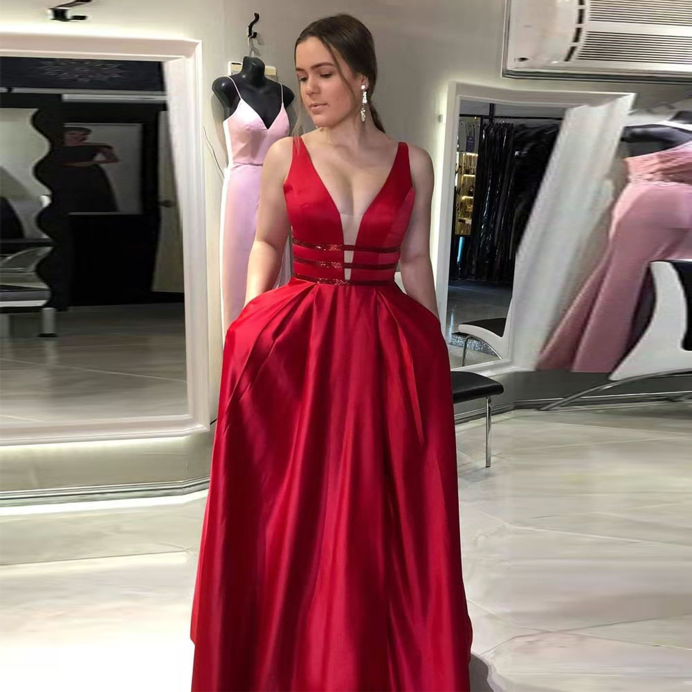 Sexy Red Long Prom Dresses Sparkle Belt Vestido De Festa Open Back Long Evening Dress Party With Poacket Robe De Soiree 2019