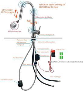 Image 2 - Akıllı dokunmatik mutfak musluk vinç sensörü mutfak çeşmesi lavabo bataryası döndür dokunmatik musluk sensörü su mikser KH 1005