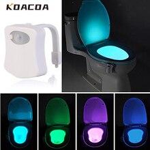 Capteur de mouvement PIR PIR intelligent, veilleuse à LED corps, capteur marche/arrêt activé sur le siège, lampe, 8 couleurs, veilleuse pour les toilettes