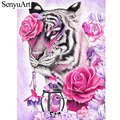 Diamond Painting Roses Flowers Tiger and Bird Full Round Drill Rhinestone Diamant Embroidery Anima Mosaic Kits Home Decoration