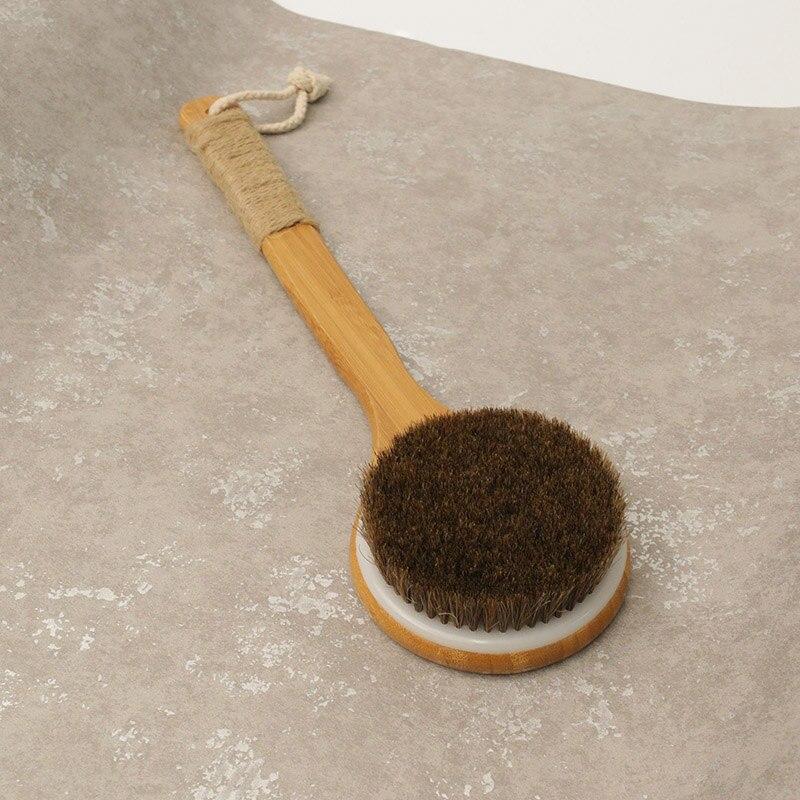 Newly Shower Brush With Long Bamboo Wood Handle Back Scrubber Spa Exfoliator Bath Body Massage Brushes CLA88