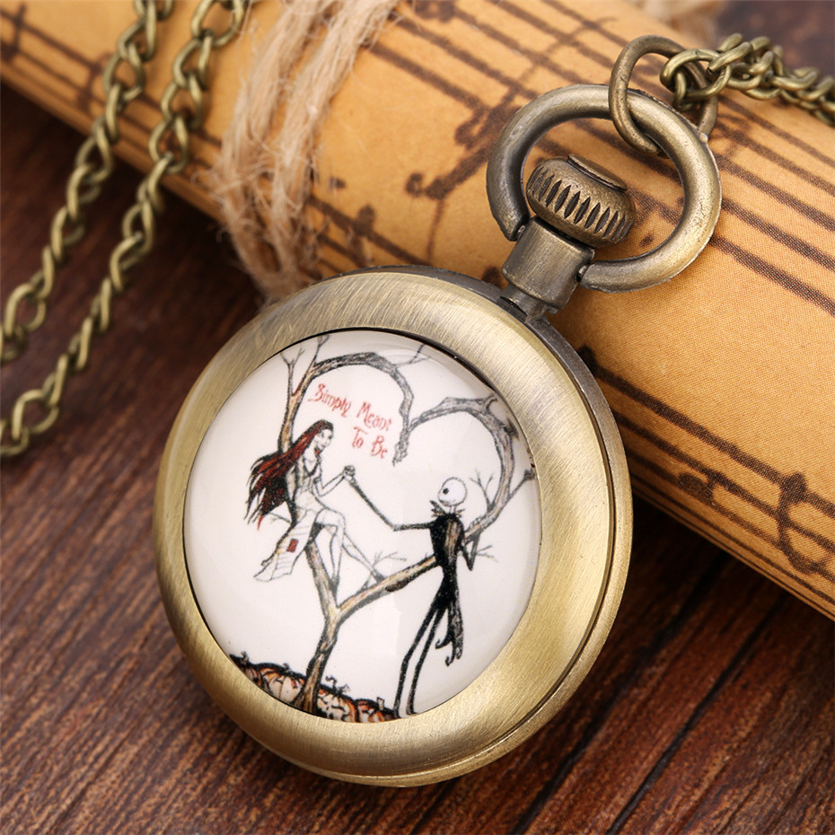 Classic The Nightmare Before Christmas Theme Necklace Pocket Watch For Children Quartz Movement Bronze Fob Chain Top Gifts