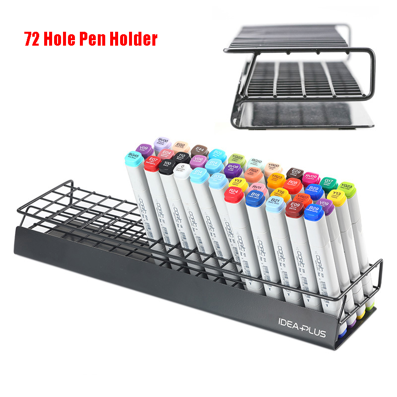 72 Holes Marker Holder Slightly Slanted Design Metal Storage Display Stand  Desk Organizer