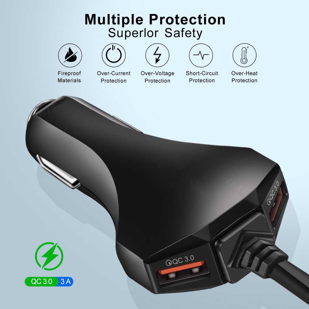 Cepat Charger 4 Port Pengisian Cepat 3.0 3.1A USB Charger Mobil Universal 1.7M 5.6ft Kabel Ekstensi Kabel untuk MPV mobil Charger Telepon