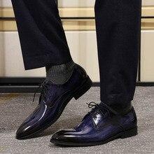 Chaussures de Derby pour hommes, souliers de mariage en cuir verni noir et bleu pour cérémonie, peint à la main, collection à lacets