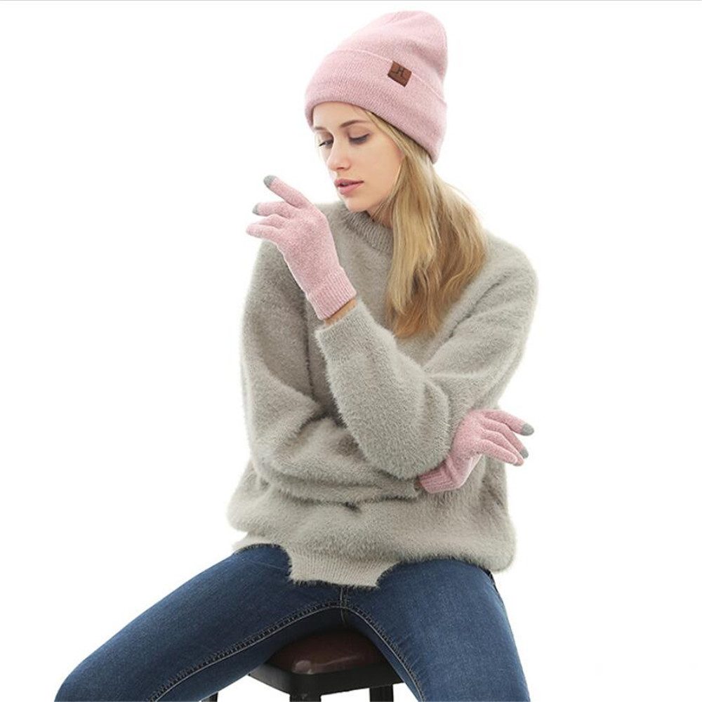 Women Solid Knitted Hat & Glove Sets With Matching Lurex And Telefingers Gloves Ladies Girls Marled Beanie And Mittens Warm Winter Sets Female Pink Blue Black Mixed Hat And Glove Sets