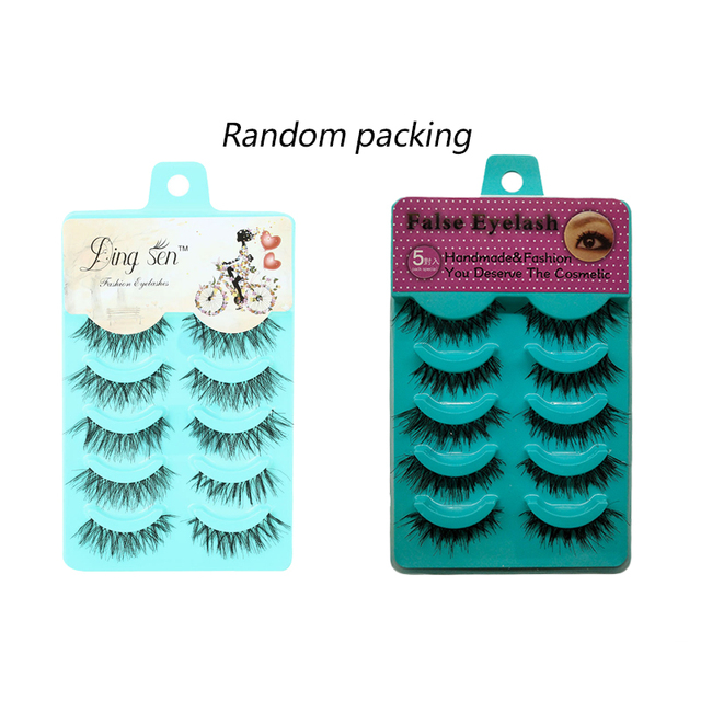5 Pairs Handmade Thick Full False Eyelashes Natural Long Eyelashes Set Fake Lashes Eye Extension Tool Makeup 3