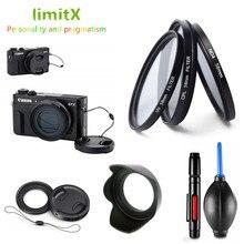 フィルターセット UV CPL ND & アダプタリング & 金属レンズフードキャップクリーニングペンラバーエアキヤノン g5X G7X マーク III II カメラ