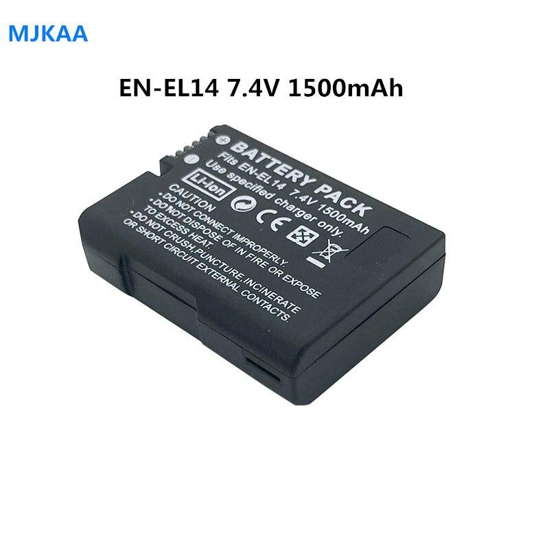 1 pièces 7.4V 1500mAh EN-EL14 Batteries D5200 D3100 D3200 D5100 P7000 P7100 MH-24 Batterie pour Appareil Photo Nikon ENEL14