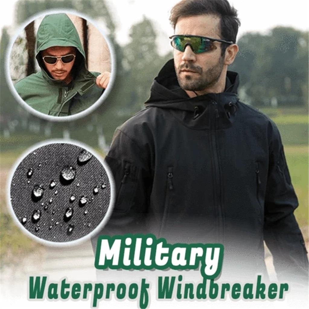 Feitong Windbreaker Jacket Waterproof Tactical Hoodie Coat Man Military Soft Coulple