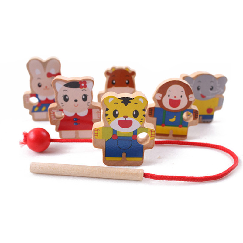 6pcs Colorful Tiger Rabbit Beads Toys Children Wooden Doll Toys Various Mini Animal Beads Children Educational Game For Kids