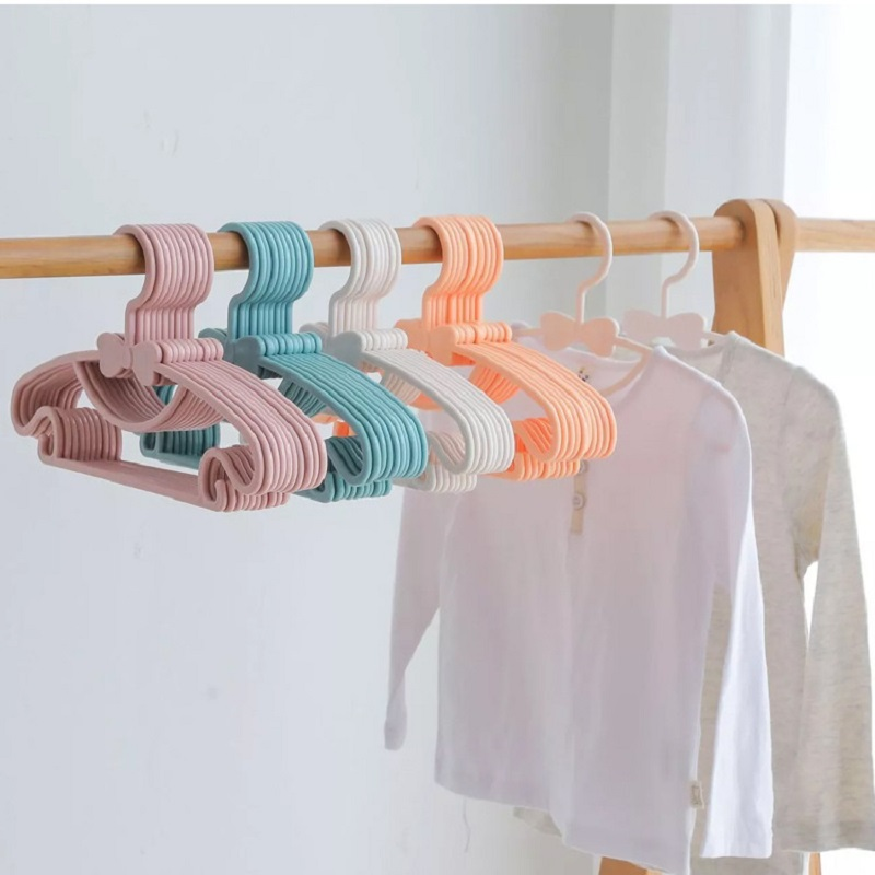 20pcs/lot Portable Clothes Hanger Kids Children Toddler Baby Clothes Coat Plastic Hangers Hook Household Kids Clothing Organizer