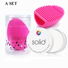 3PCS/SET Makeup Brush Sponge Clean soap Cleaning brush Egg Foundation Concealer Powder Cosmetic Puff Blush Beauty Tool