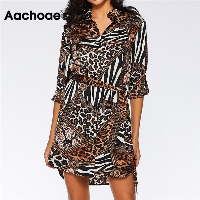 Aachoae Leopard Dress Women 2020 Summer Sexy Mini Party Dress Turn Down Collar Office Shirt Dress Ladies Bandage Dresses Vestido