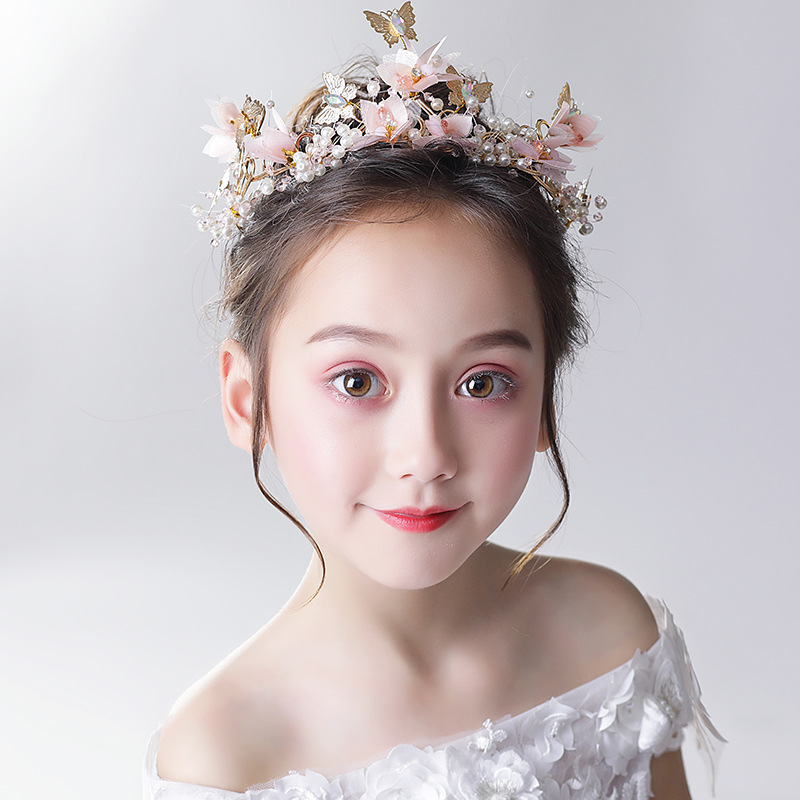 Fashion Korean Children's Head Flower Golden Butterfly White Pearl Flower Headband Flower Girl Birthday Headband Wreath 2020new