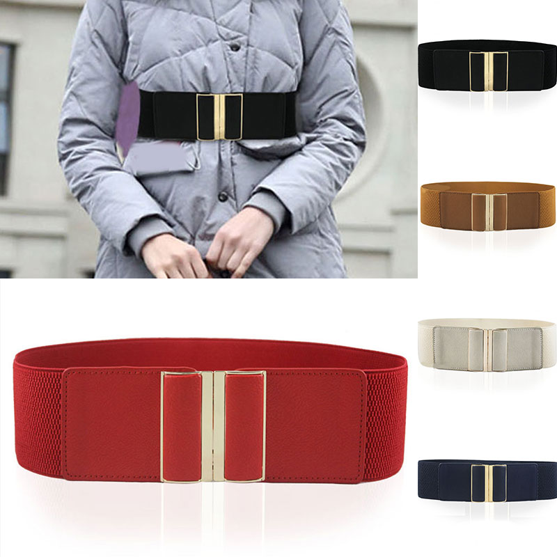 Wide Elastic Belt Ladies Stretch Cinch Plus Size Solid Color Waistband Fashion Girls Metal Head Wide Belt For Long Coat