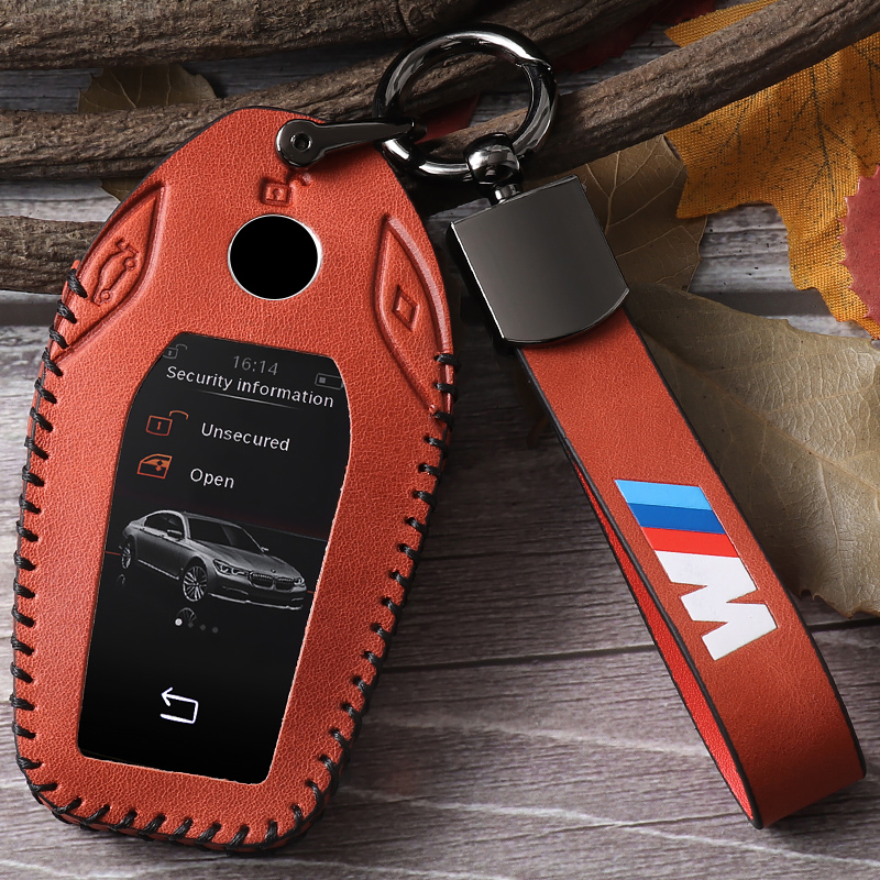 Genuine leather key case for car BMW 7 Series LCD Key Set New x3 x5 5 Series 530le Smart 6 Series gt Car Key Case Buckle