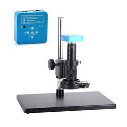 Pełny zestaw 34MP 2K lutowania przemysłowego kamery mikroskopu wyjścia USB 180X C mocowanie obiektywu 60 LED do laboratorium PCB IC procesor lutowania w Mikroskopy od Narzędzia na
