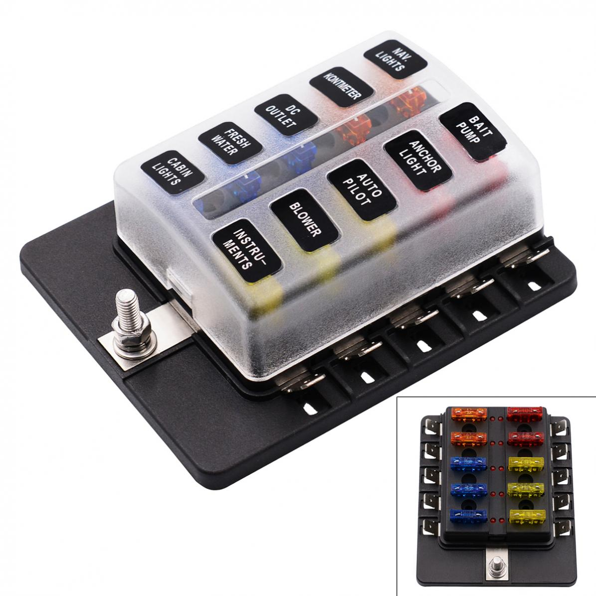 10 Way Blade Fuse Box Blade Holder Bus Bar LED Warning Light Car Marine