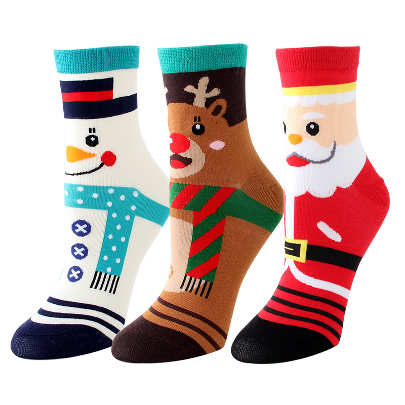 Cute Cotton Sock Women Cartoon Socks Colorful Funny Kawaii Elk Socks Personality Christmas Gift For Girls 3 Pairs/lot #F