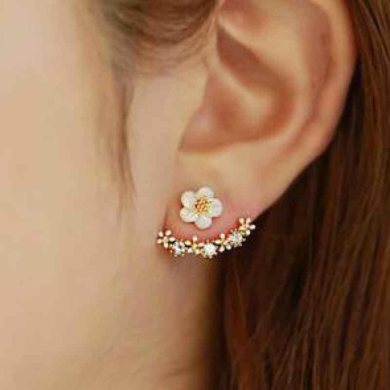 2016 ใหม่เกาหลี Daisy แจ็คเก็ตหูเชลล์ Gold Rhinestone ต่างหูสีขาวเข็มเครื่องประดับ Hypoallergenic