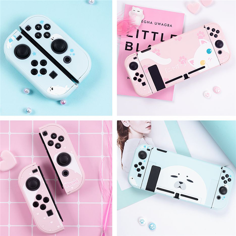 Nintendo Switch Case | 1set Kawaii Cat Pink Protective Case Cover Housing Shell For Nintend Switch Game Console & Joy Con Accessories