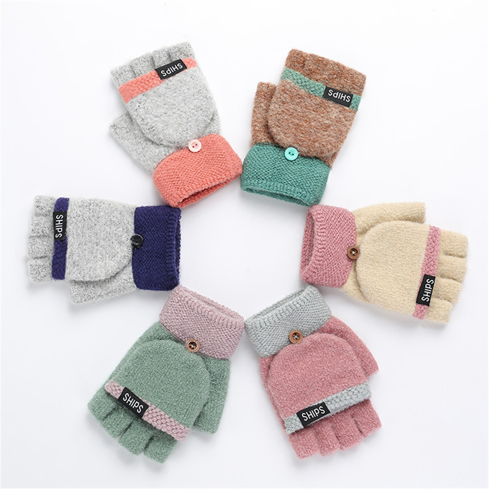 1Pair Winter Knitted Flip Gloves Gloves Warm Wool Flip Top Gloves Flocking Warm Knitted Half-Finger Gloves Girl Women Gift 2020