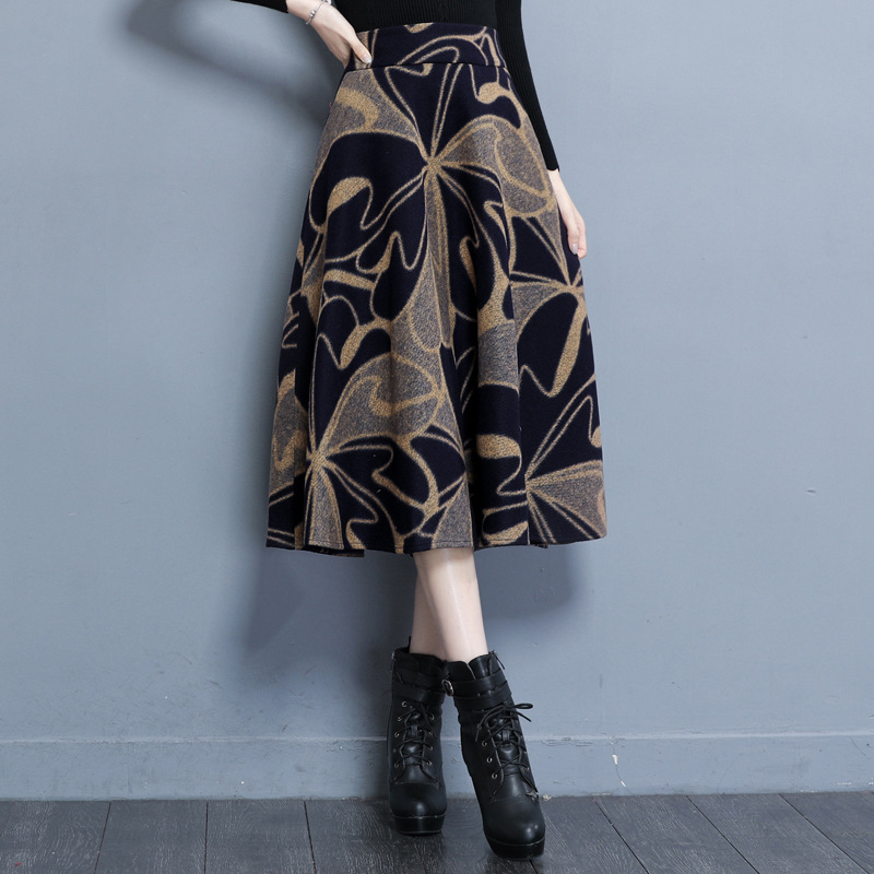 8830 # Vintage Woolen Skirt High-waisted Mid-length A- Line Skirt Large Size Autumn And Winter Medium-length Dress Winter A- Lin