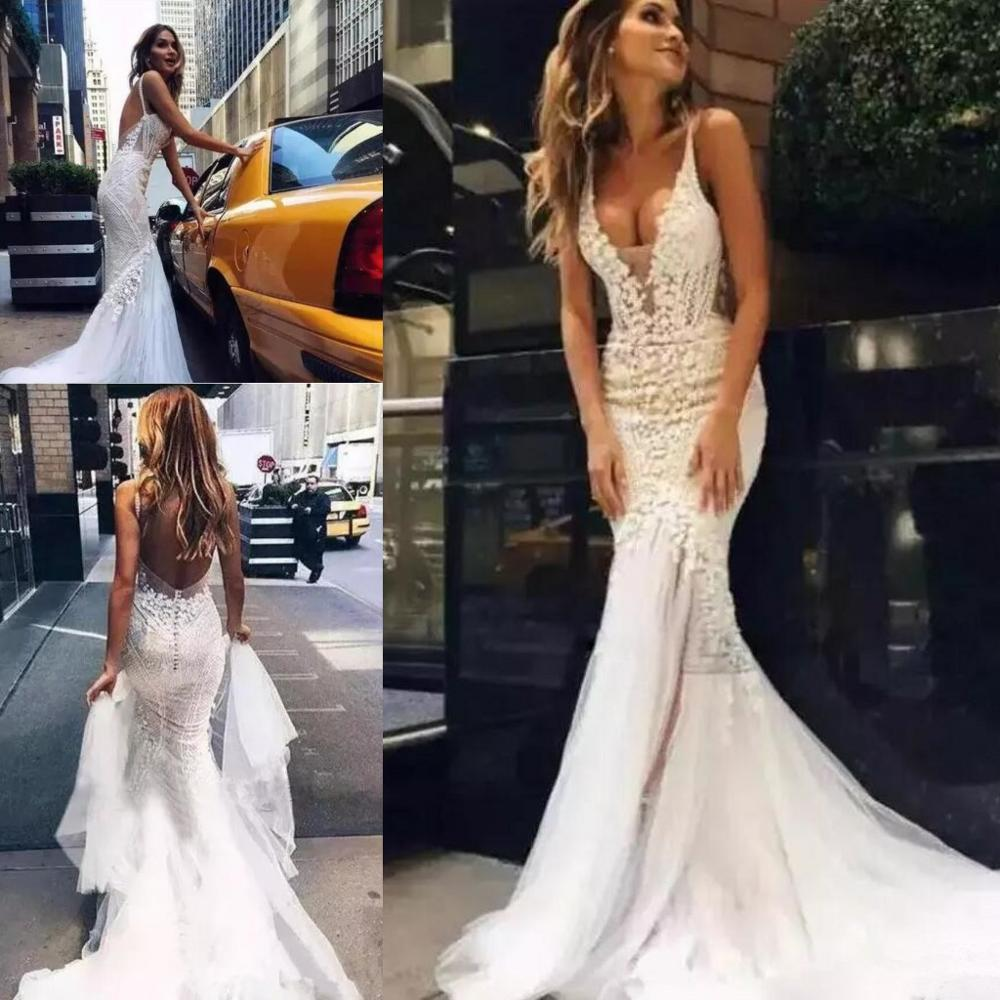 2020 Beach Wedding Dresses Backless Sheer Deep V Neck Fishtail Bridal Gowns Vestido De Novia Customized Mermaid Wedding Gown