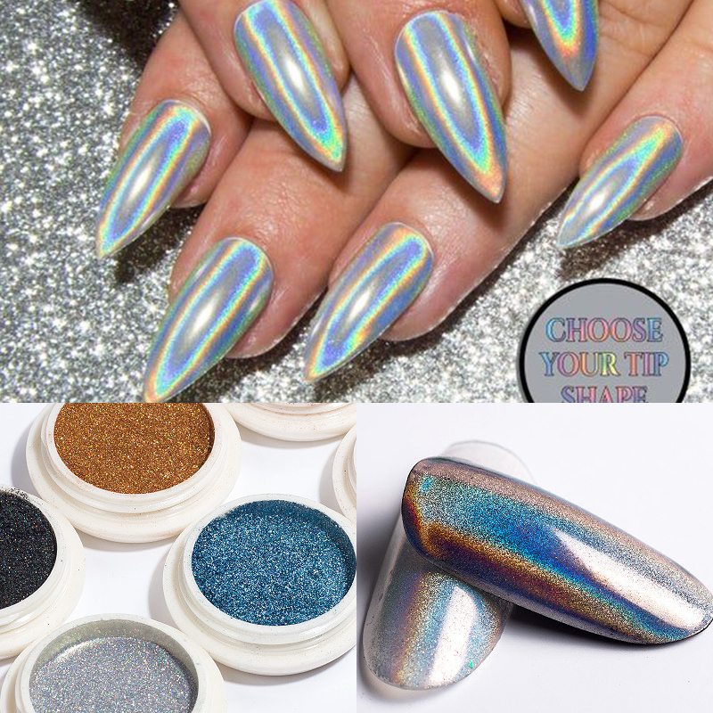 1 Box Glitter For Nails Holographics Powder Silver Polishing Chrome Pigments Nail Art Decorations Laser Dazzling Dust