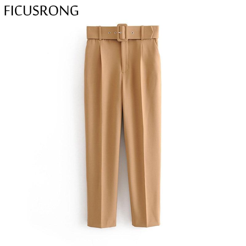 Office Lady Black Suit Pants With Belt Women High Waist Solid Long Trousers Fashion Pockets Pantalones FICUSRONG Pencil