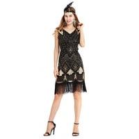Women 1920s Flapper Dress Art Deco Great Gatsby Dress Vestidos V Neck Sleeveless Vintage Sequined fringed dress dropshipping