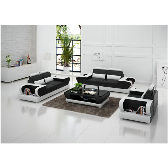 high end modern   living room  1+2+3 sectional genuine leather sofa 2