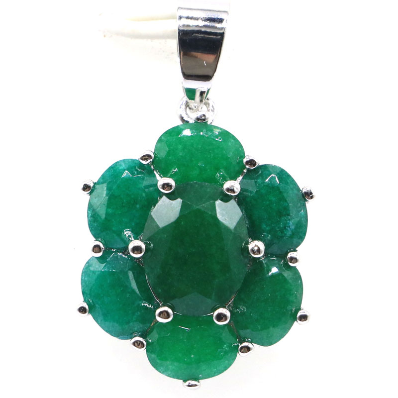 27x17mm SheCrown Hot Sell Real Green Emerald Real Red Ruby Woman's Wedding 2019 925 Silver Pendant