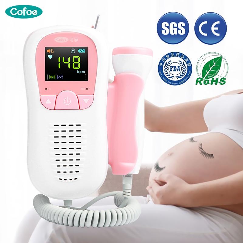 Moniteur doppler domestique doppler foetal Cofoe moniteur de fréquence cardiaque foetal 2.0Mhz pour les soins de santé des femmes enceintes