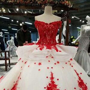 Image 5 - LSS037 אדום 3D פרחים באיכות גבוהה שמלות מהיר חינם מסין מכתף v צוואר תחרה עד בחזרה כדור שמלת שמלת ערב