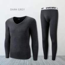 Long johns men thermal underwear sets thin fleece elastic material soft V neck undershirt+underpants size L to 4XL 5 colors