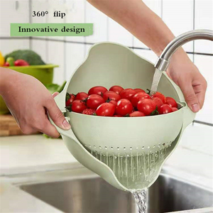 High Quality Double Drain Basket Vegetables Fruit Noodles Washing Multi-function Kitchen Strainer Detachable Kitchen Drain Baske(China)